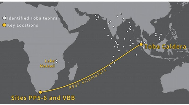 The glass shards at Pinnacle Point were carried nearly 9000 km from the source in Indonesia. Credit Image credit Erich Fisher.