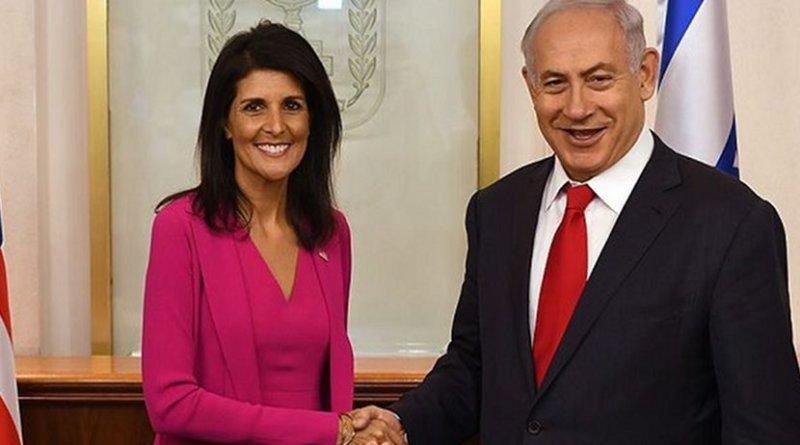 Nikki Haley with Israeli Prime Minister Benjamin Netanyahu at his office in Jerusalem. (Photo: Courtesy US Embassy Tel Aviv, Wikimedia Commons)
