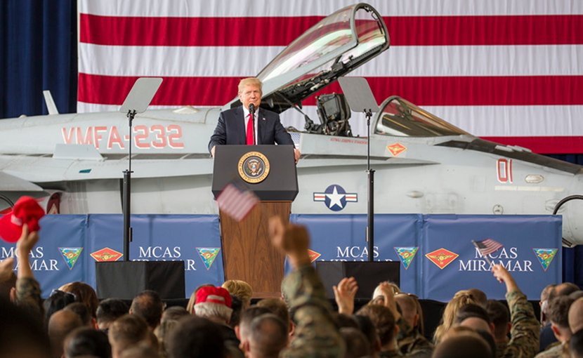 President Donald J. Trump speaks at Marine Corps Air Station Miramar, Calif., March 13, 2018. Trump visited MCAS Miramar during part of a larger trip to California to speak with service members and their families. Marine Corps photo by Sgt. Tia Dufour