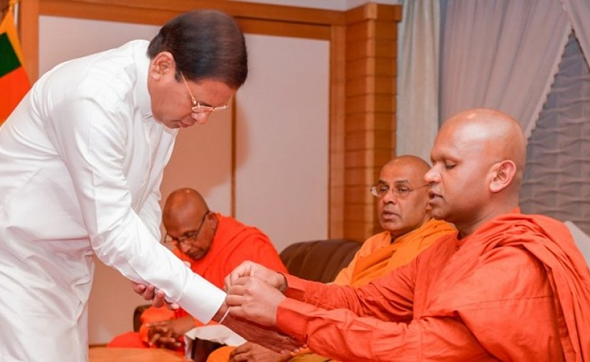 President Maithripala Sirisena meets with the Chief Incumbents of the Sri Lanka Buddhist Temples in Japan in Tokyo. Photo Credit: Sri Lanka government.