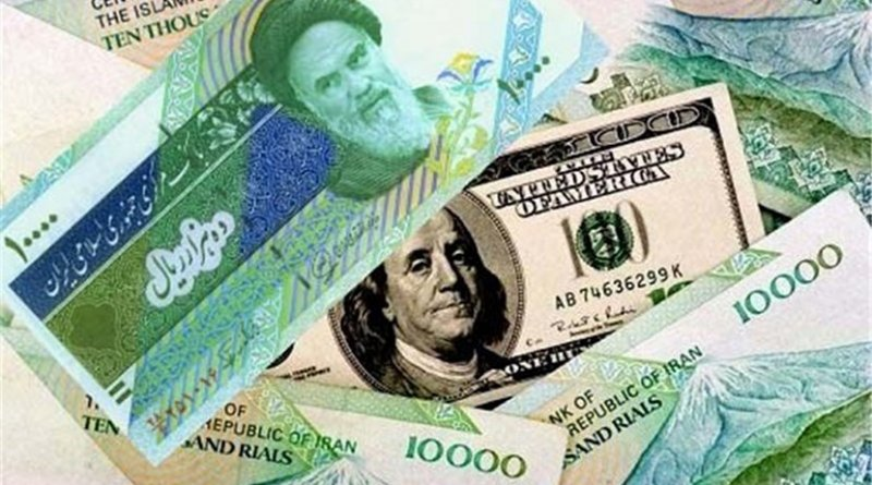 Iranian rials and US $100 banknote.