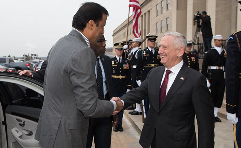 US Defense Secretary James N. Mattis shakes hands with Sheikh Tamim Bin Hamad Al Thani, emir of Qatar, outside the Pentagon, April 9, 2018. DoD photo by Army Sgt. Amber I. Smith