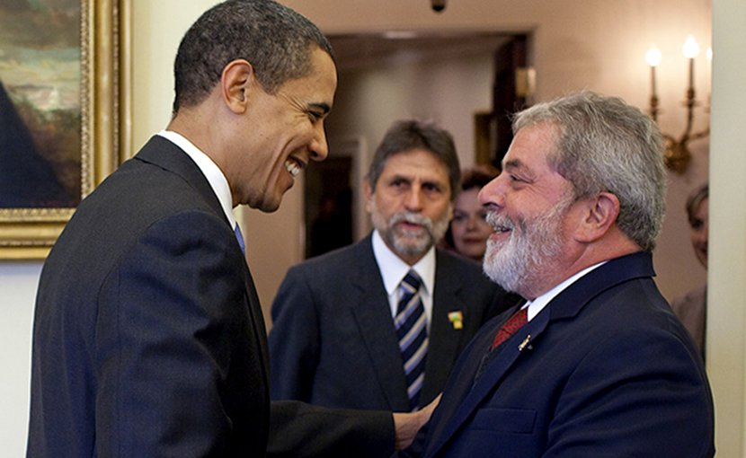 "U.S. President Barack Obama said that the then president of Brazil, Luiz Inacio ""Lula"" da Silva, was ""the most popular president on earth"". This picture shows Obama greeting him in the Oval Office in March 2009. Credit: White House."