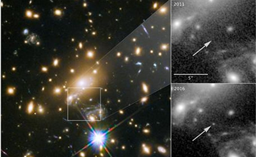 This is an Icarus capture by the Hubble Space Telescope. The left image shows galaxy cluster MACS J1149+2223 and the position of Icarus. The top right image shows how Icarus was not visible in 2011, and became visible in 2016. Credit NASA/ESA/P. Kelly