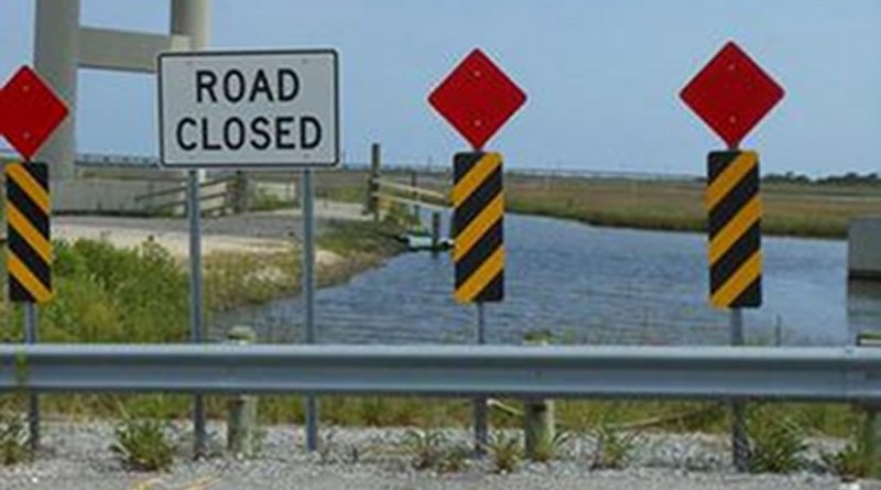 Thanks to wetland loss, Louisiana Highway 1 along Bayou Lafourche abruptly ends in open water. Credit Elizabeth Chamberlain