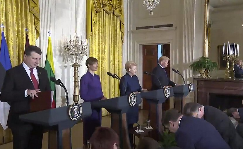 President Raimonds Vejonis of Latvia (left), President Kersti Kaljulaid of Estonia (second from left), President Dalia Grybauskaite of Lithuania, and U.S. President Donald Trump. Credit: Screenshot White House video.