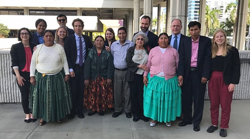 Bolivian plaintiffs and legal team. Photo Credit: Center for Constitutional Rights
