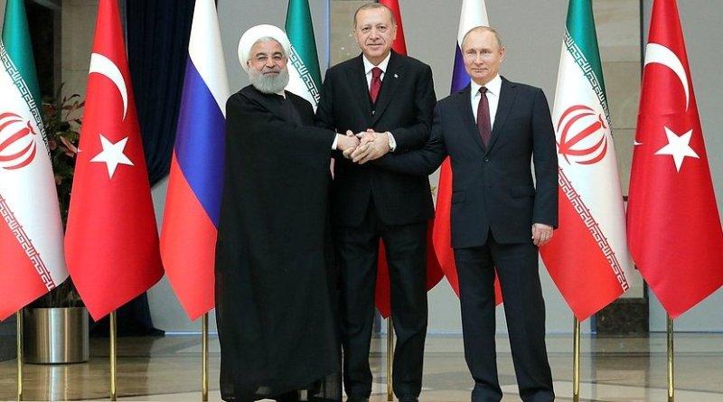 Russia's President Vladimir Putin with President of Iran Hassan Rouhani (left) and President of Turkey Recep Tayyip Erdogan before the trilateral meeting. Photo Credit: Kremlin.ru