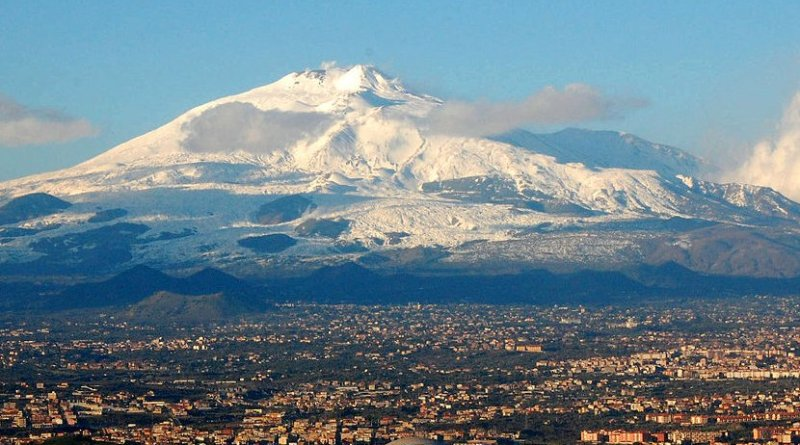 Mount Etna with the city of Catania, Italy in the foreground. Photo by BenAveling, Wikimedia Commons.