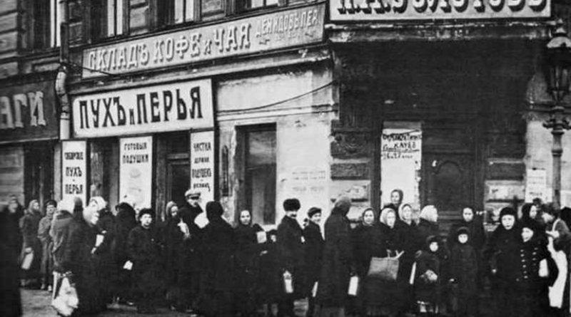 Bread line in Russia. Source: Wikipedia Commons.