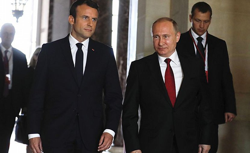 Russia's Vladimir Putin and France's Emmanuel Macron. Photo Credit: Kremlin.ru
