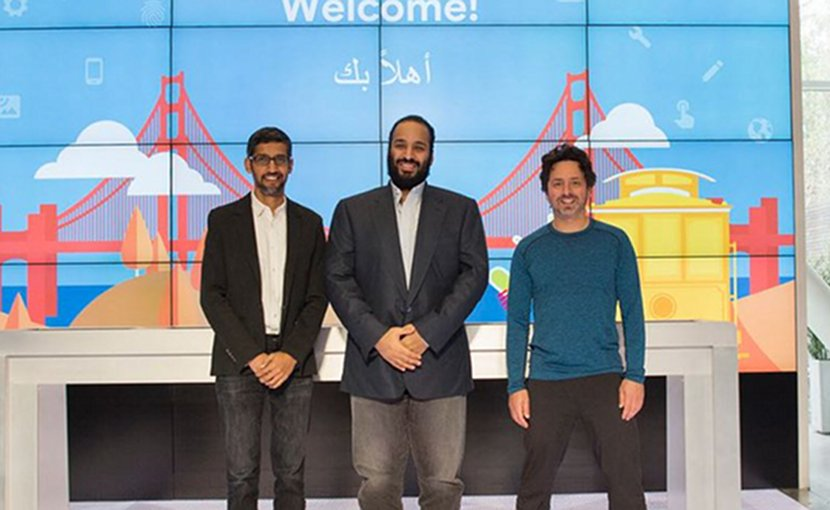 From the left, CEO of Google, Pichai Sundararajan, Saudi Crown Prince Mohammad bin Salman, President of Alphabet Sergey Brin. (SPA)