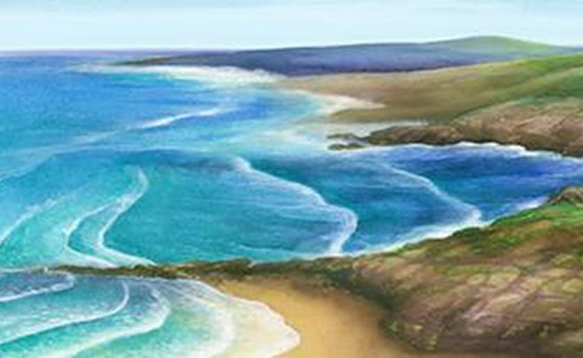 An artist's rendering of a coastal ocean landscape in the early Triassic world 250 million years ago. Credit Hewe Duan