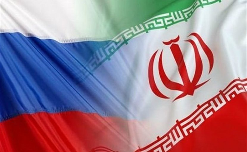 Flags of Russia and Iran.