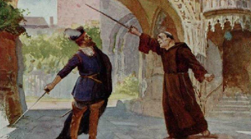 "1860s postcard showing Act IV of ""La forza del destino"" by Giuseppe Verdi. Source: Wikipedia Commons."