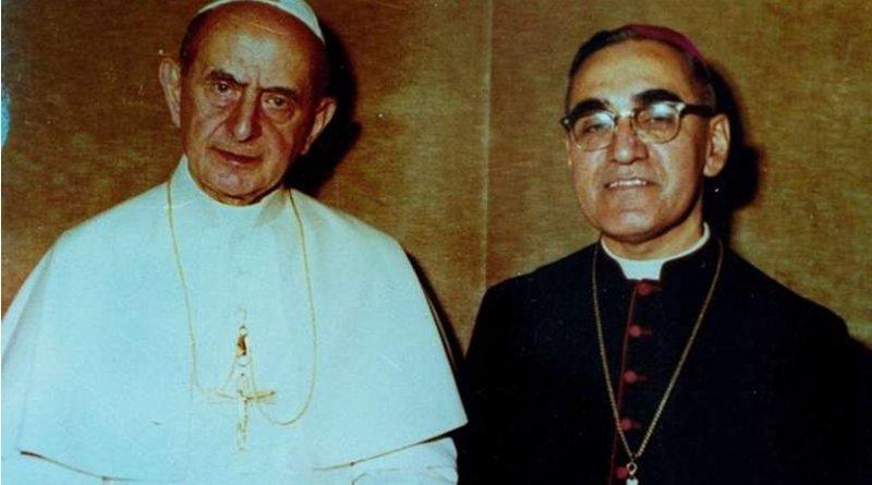 Pope Paul VI and Archbishop Oscar Romero pose together in an undated file photo. Photo courtesy of Oficina de Canonizacion de Mons. Oscar Romero.