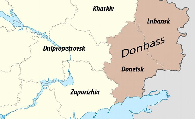 The contemporary media definition of Donbas in Ukraine overlapping territories of Sloboda Ukraine. Source: WIkipedia Commons.
