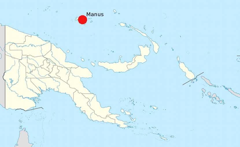 Location of Manus Island in Papua New Guinea