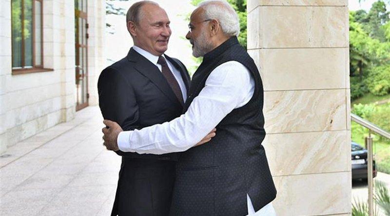 India's Prime Minister, Shri Narendra Modi with the President of Russian Federation, Mr. Vladimir Putin. Photo Credit: India PM Office.