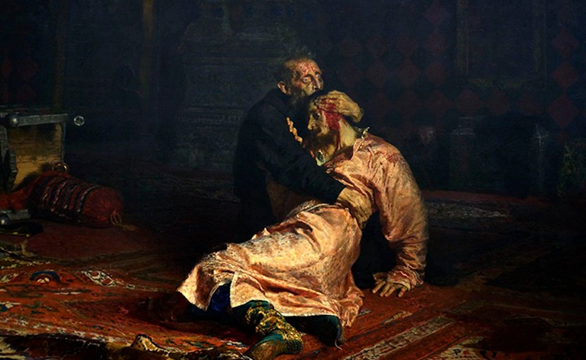 van the Terrible and His Son Ivan on November 16th, 1581. Painting by Ilya Repin (1885). Source: Wikipedia Commons.