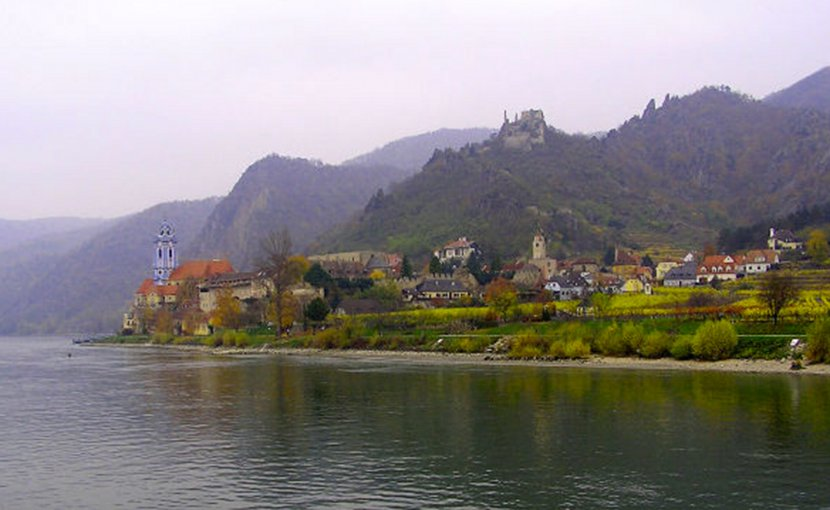 The Danube River flows past Durnstein, Austria.