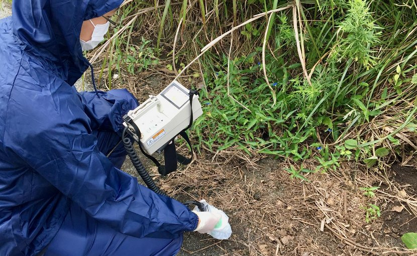 This is research student Mr. Ryohei Ikehara conducting environmental monitoring in the Fukushima Daiichi nuclear exclusion zone Credit Dr Gareth Law, The University of Manchester