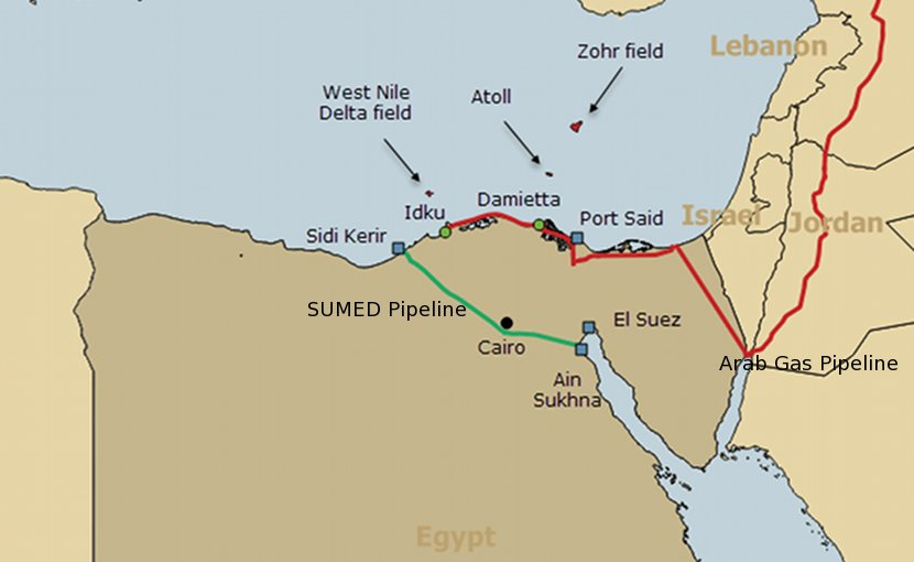 Map of Egypt and oil and gas infrastructure highlighting SUMED pipeline (green) and Arab Gas Pipeline (red). Source: EIA.