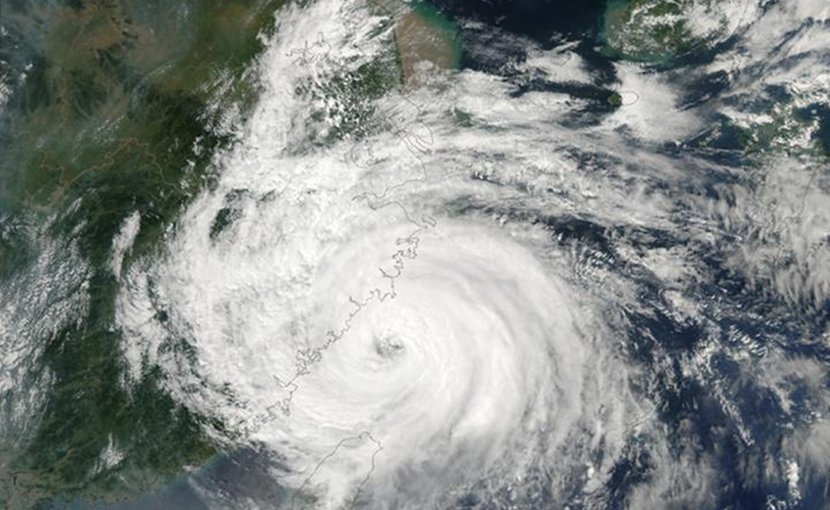Cyclone Sinlaku making landfall in east China in 2002. Credit MODIS/NASA