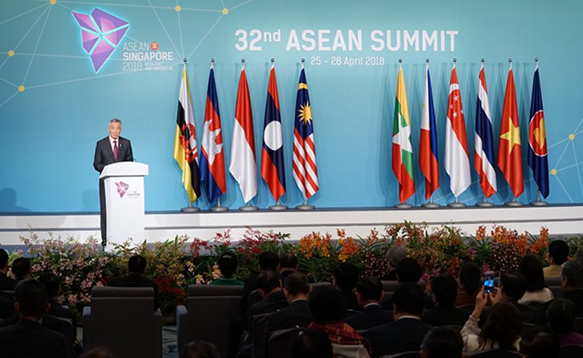 Singapore's Prime Minister Lee Hsien Loong speaking at the 32nd ASEAN Summit. Photo Credit: ASEAN