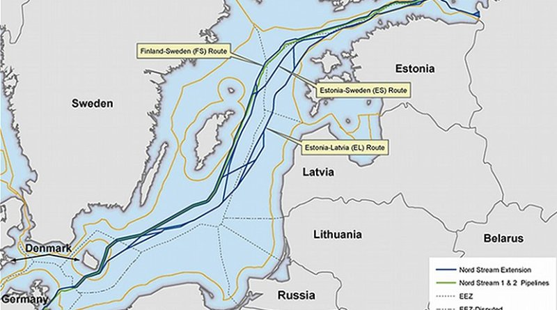 Map of Nord Stream 1 and 2, plus planned extensions. [Nord Stream website]