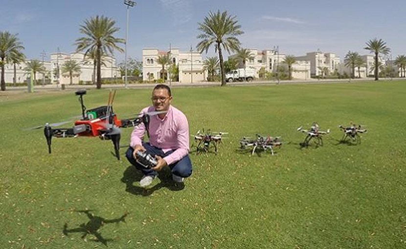 Mohamed Abdelkader is one of the researchers that developed an algorithm that enables a team of unmanned aerial vehicles to work together in real time under a capture the flag scenario to intercept an attacker drone. Credit © 2018 Kuat Telegenov