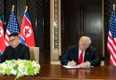 President Donald J. Trump and North Korean leader Kim Jong Un sign joint statement, Tuesday, June 12, 2018, at the Capella Hotel in Singapore. Photo Credit: White House.