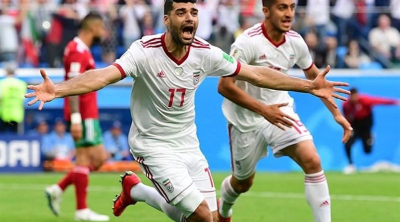 Iran's Mehdi Taremi celebrated victory over Morocco. Photo Credit: Tasnim News Agency.