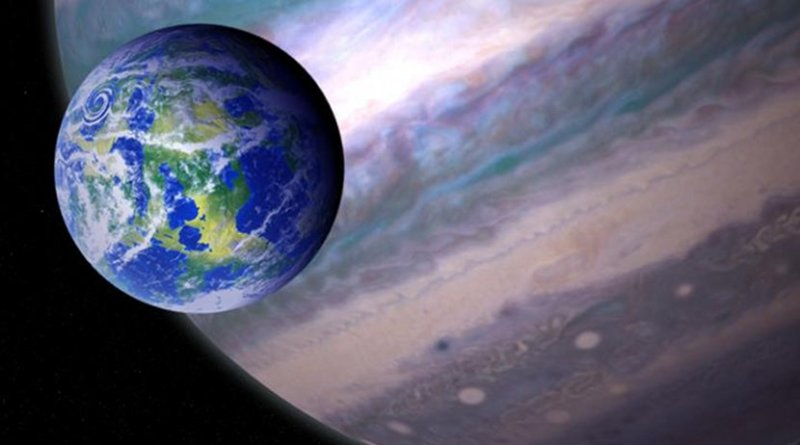 This is an artist's illustration of a potentially habitable exomoon orbiting a giant planet in a distant solar system. Credit NASA GSFC: Jay Friedlander and Britt Griswold