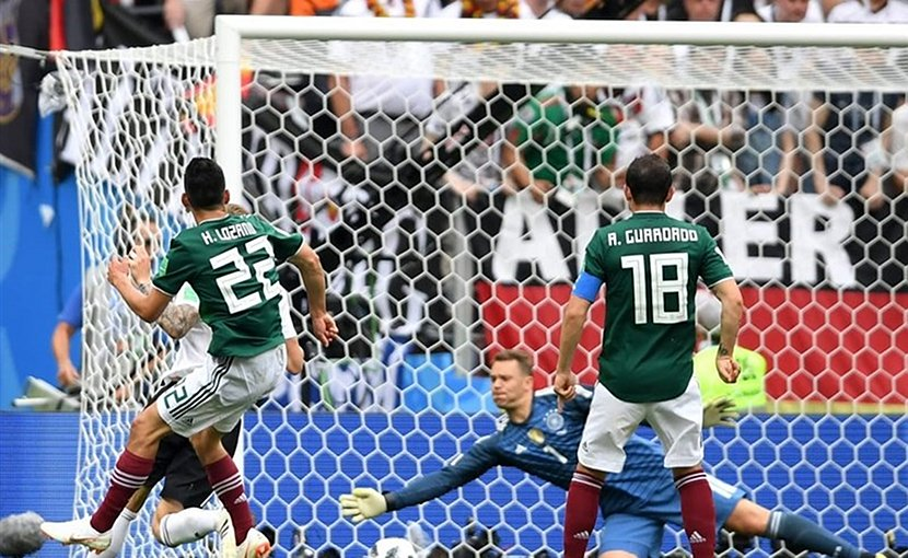 Hirving Lozano marks goal in Mexico's 1-0 win over Germany in World Cup 2018. Photo Credit: Tasnim News Agency.