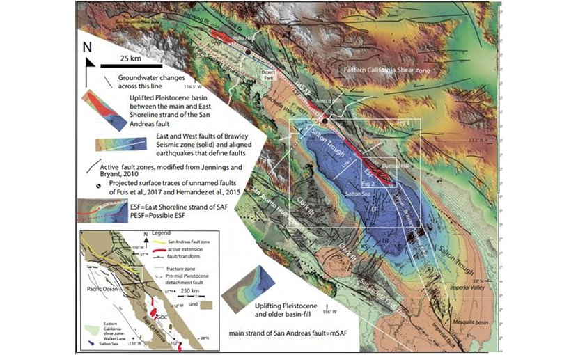 Map showing the faults and uplifting late Cenozoic basin fill (gray) of southeastern California. A larger version is available. Credit Jänecke et al. and Lithosphere