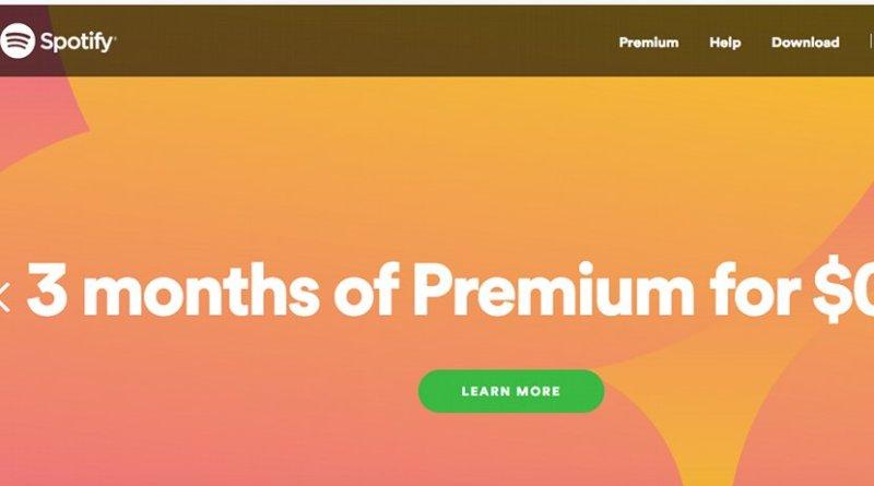 Screenshot of Spotify website.