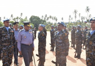Members of Srii Lanka's 4th Contingent of the Aviation Unit to serve under the United Nations helicopter deployment in South Sudan (UNMISS). Photo Credit: Sri Lanka government.