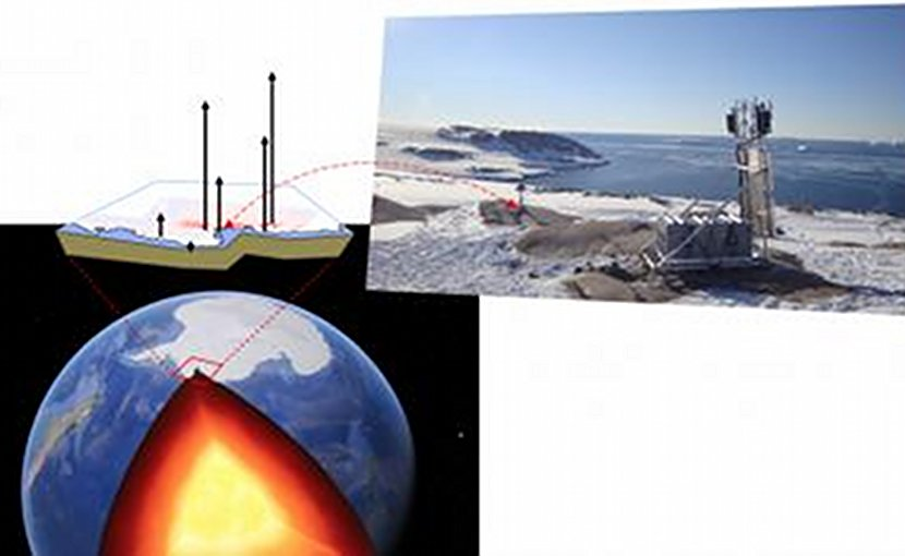 Antarctica, as seen using Google Earth, and a cut to show the interior of the earth, where the mantle (red and dark red) and the core (yellow) are visible. The Amundsen Sea Embayment is indicated by the red rectangle. On the right, a photo reveals one of the GPS sites in the study. Credit VR. Barletta, DTU Space at the Technical University of Denmark/Google Earth/Terry Wilson, The Ohio State University