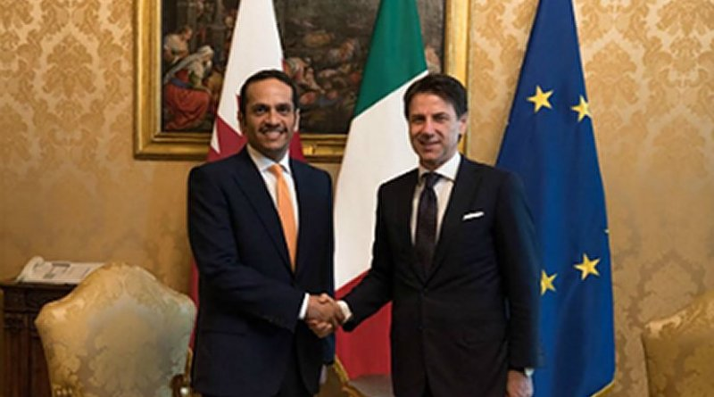 Italy's Prime Minister Giuseppe Conte with Qatar's Deputy Prime Minister and Minister of Foreign Affairs Sheikh Mohammed bin Abdulrahman Al -Thani. Photo Credit: Qatar Foreign Ministry.