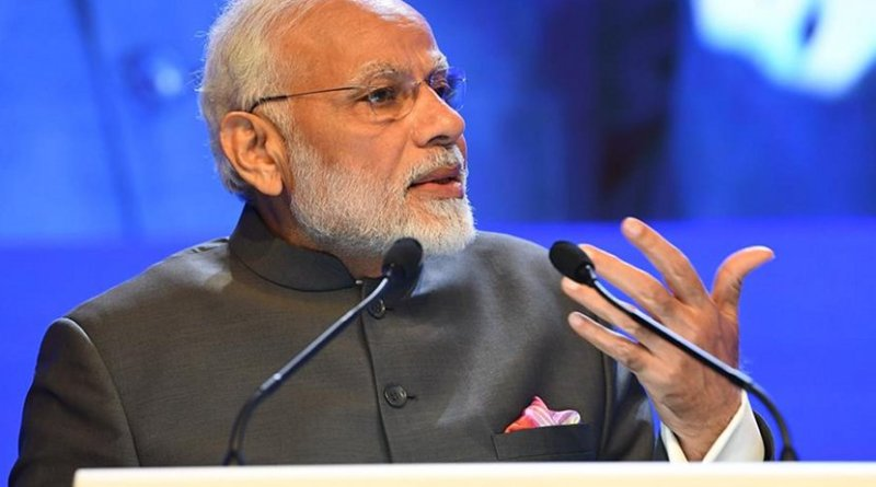 India's Prime Minister Narendra Modi giving speech at the Shangri-La Dialogue. Photo Credit: India PM Office.
