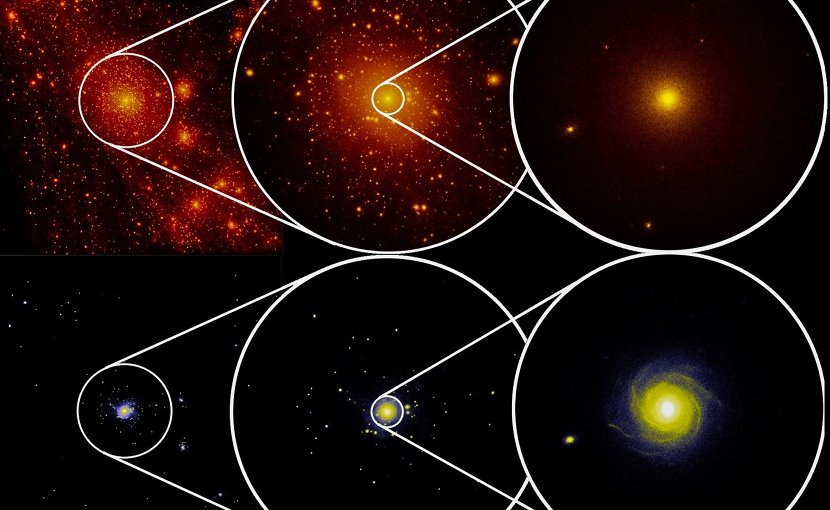 This picture shows the distribution of dark matter (above) and stars (below). Credit © E. Garaldi, C. Porciani, E. Romano-Díaz/University of Bonn for the ZOMG Kollaboration