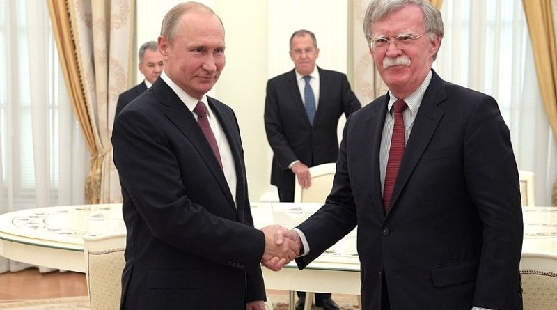 Russia's President Vladimir Putin meets with Meeting with US National Security Adviser John Bolton. Photo Credit: Kremlin.ru
