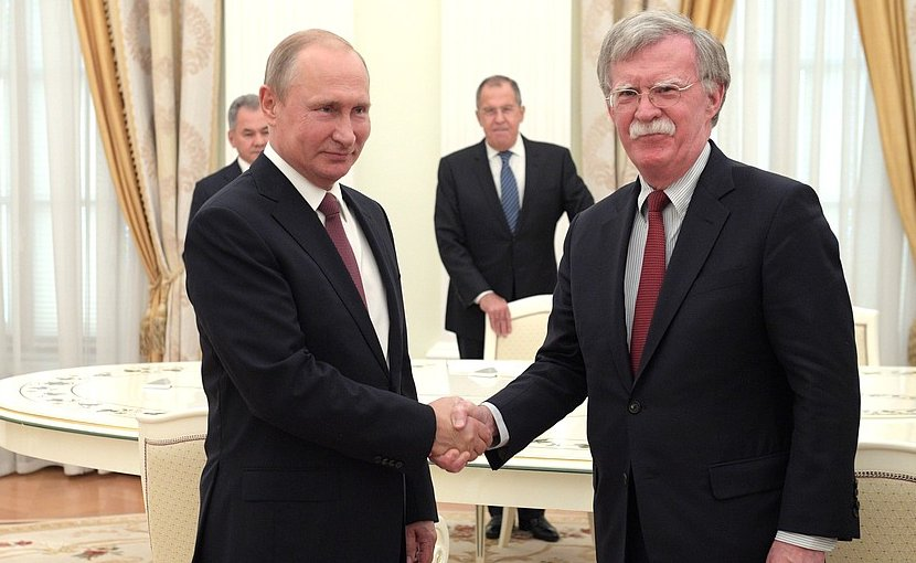 Russia's President Vladimir Putin meets with Meeting with US National Security Adviser John Bolton. Photo Credit: Kremlin.ru