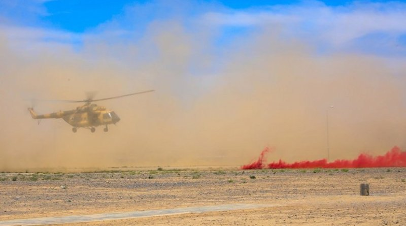 An Mi-17 from the Afghan air force prepares to land at the Regional Military Training Center-Kandahar during a medical evacuation exercise hosted by soldiers from the 2nd Battalion, 1st Security Force Assistance Brigade in Kandahar, Afghanistan, May 8, 2018. Army photo by Staff Sgt. Neysa Canfield