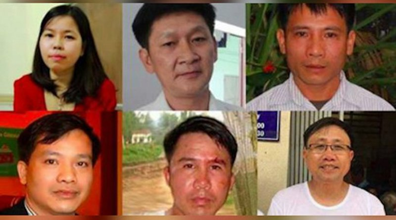 The six jailed activists are, from top right: Pastor Nguyen Trung Ton, Truong Minh Duc, Le Thu Ha, Nguyen Bac Truyen, Pham Van Troi and Nguyen Van Dai. (Photo courtesy of the Brotherhood for Democracy)