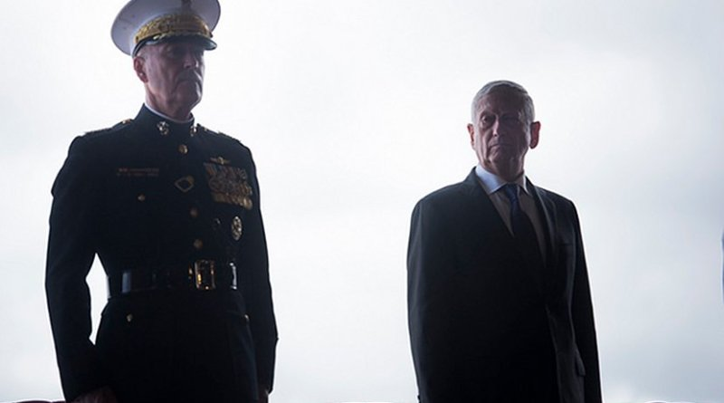 Secretary of Defense James N. Mattis presides over the change of command ceremony as Adm. Phil Davidson relieved Adm. Harry Harris as Commander, U.S. Indo-Pacific Command (USINDOPACOM), on Joint Base Pearl Harbor-Hickam Wednesday, May 30, 2018. (DoD Photo by Tech Sgt. Vernon Young Jr.)