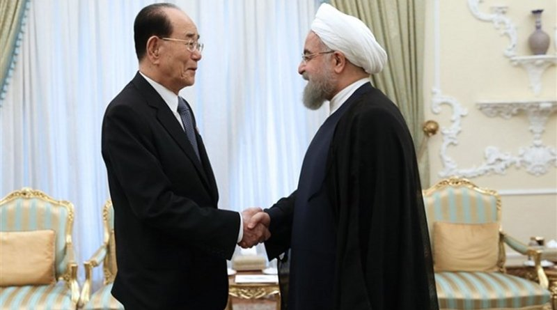 President of the Presidium of the Supreme People's Assembly of North Korea Kim Yong-nam with Iran's President Hassan Rouhani. Photo Credit: Tasnim News Agency.