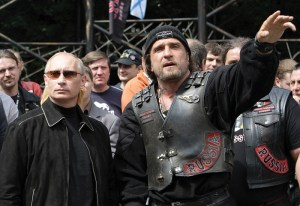Vladimir Putin and Alexander Zaldostanov together at the motorcycle club in Moscow, 7 July 2009. Photo Credit: YouTube