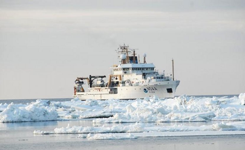 Environmentally complex Bering seascape with seasonal sea-ice cover, June 25, 2018. In the background is NOAA research vessel, Oscar Dyson. Credit National Oceanic and Atmospheric Administration/Department of Commerce